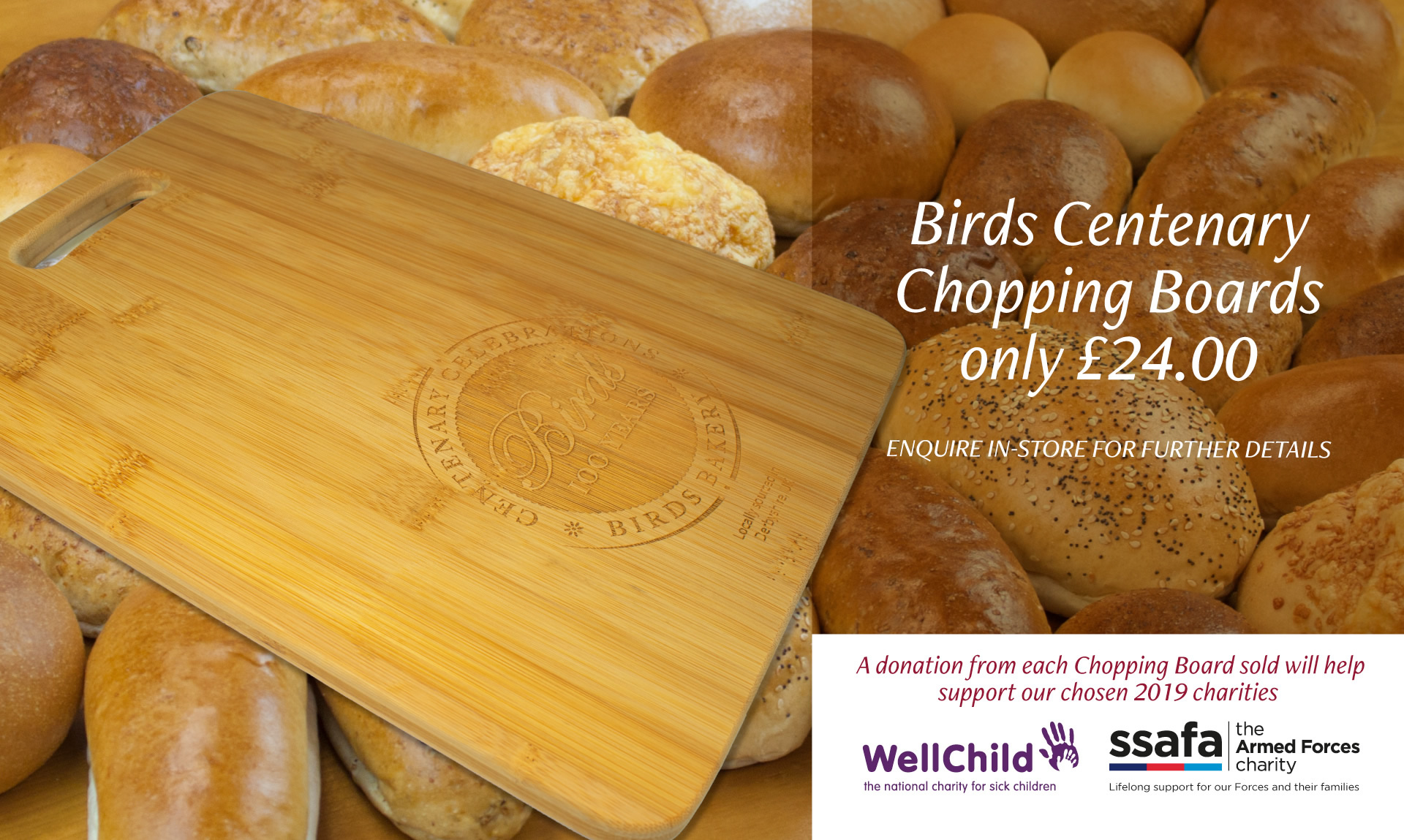 Birds centenary chopping boards, only £24.00