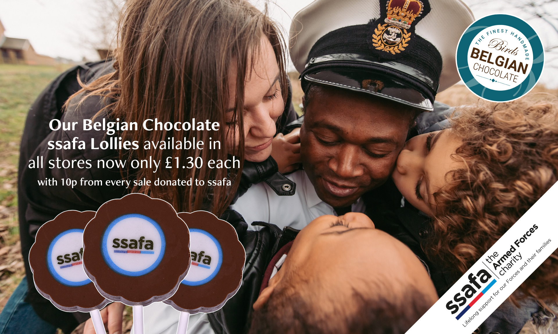 Our belgian chocolate ssafa lollies, available in all stores now only £1.30 each, with 10p from every sale donated to ssafa