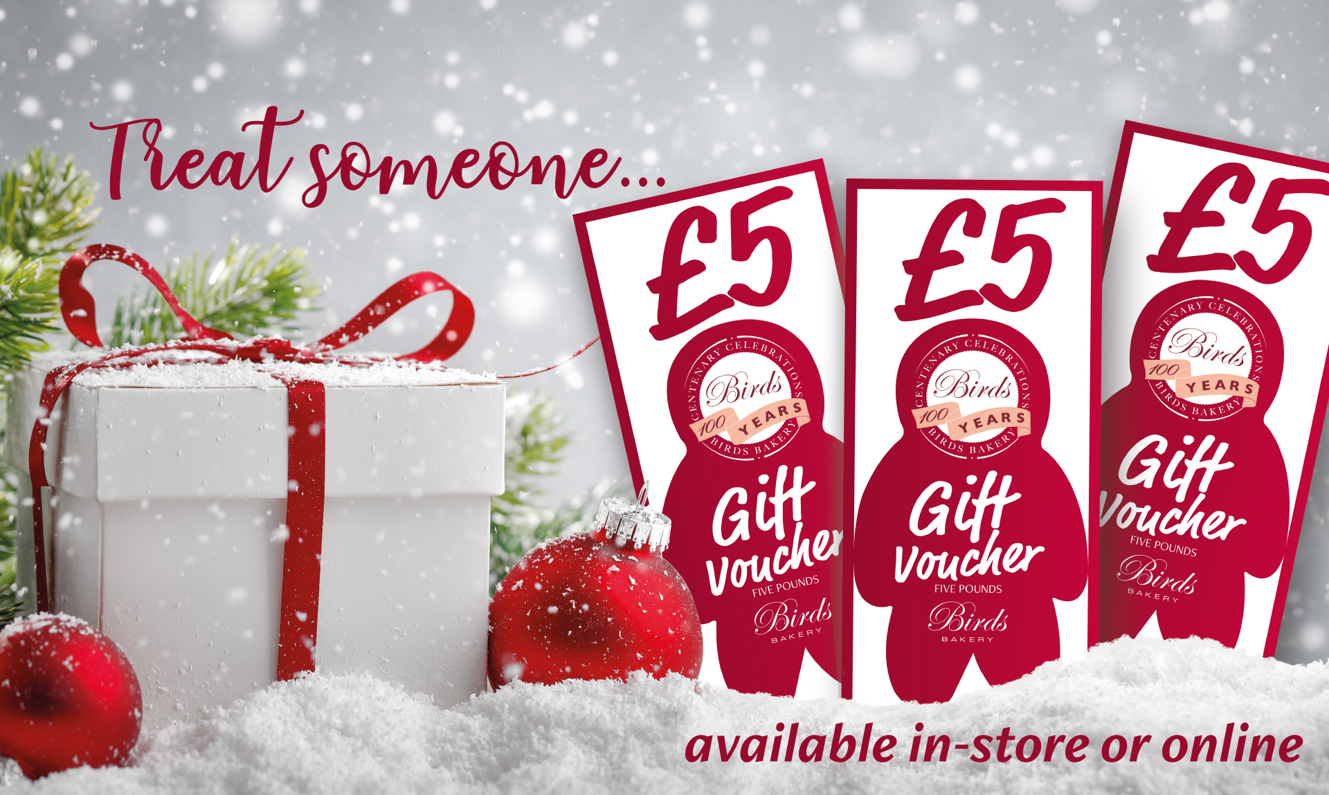 Treat someone, gift vouchers available in store or online