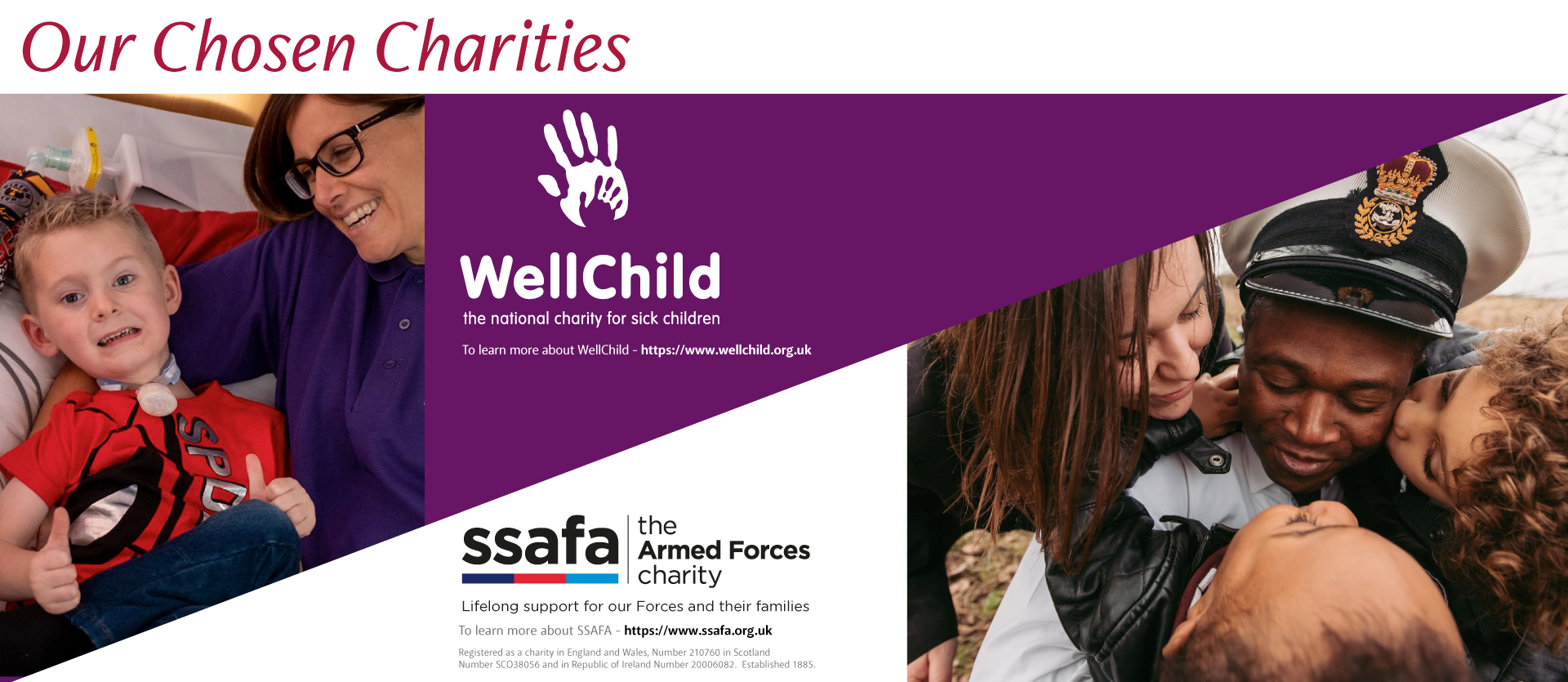 Our chosen charities - WellChild and SSAFA